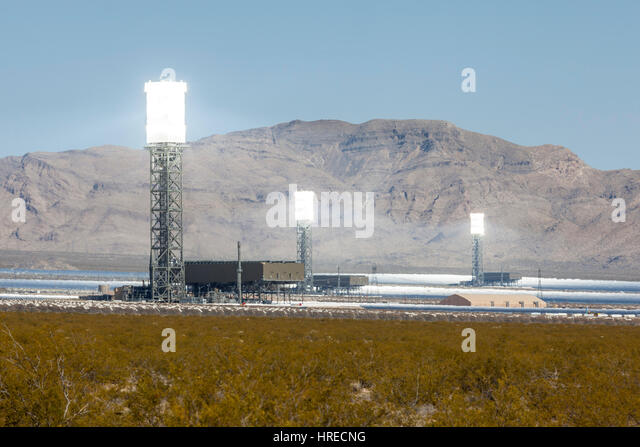 Ivanpah, California, USA - May 14, 2014:  White hot towers at the newly operational 392 megawatt Ivanpah solar thermal - Stock Image
