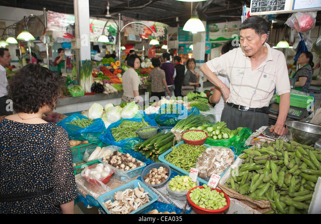 Indoor food market; Taikang Lu; Shanghai; China - Stock Image