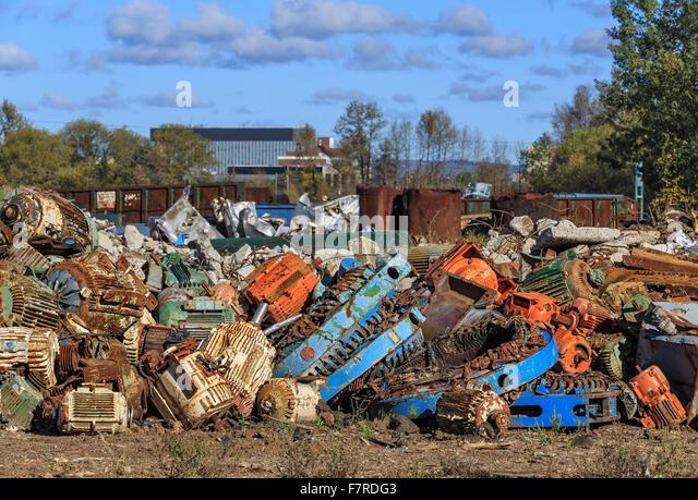 Pile of scrap metal recycling, Thunder Bay, Ontario, Canada. - Stock Image