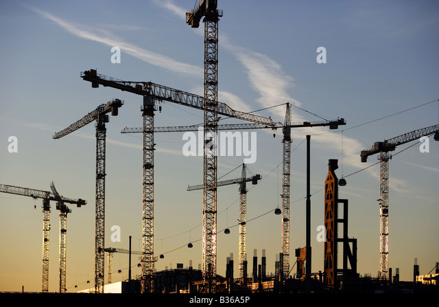Cranes at the City Center construction site near Rhein-Main Airport, Frankfurt - Stock Image
