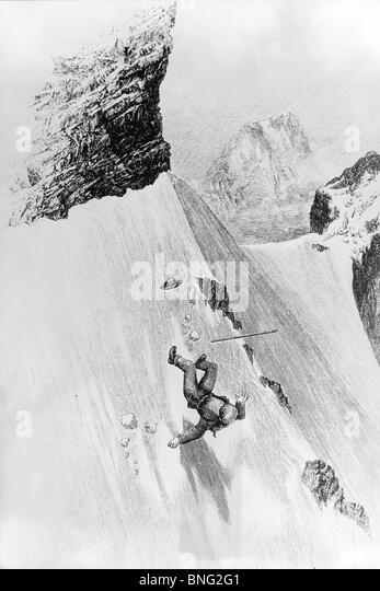 Dangerous Fall of a Edward Whymper, Matterhorn, Switzerland by unknown artist - Stock Image