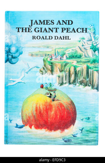 The book called James and the Giant Peach written by Roald Dahl on a white background - Stock Image