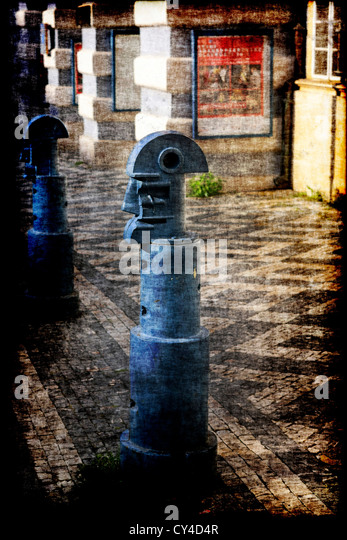 Artistic bollards in Bretfeldsky Square Prague - Stock Image