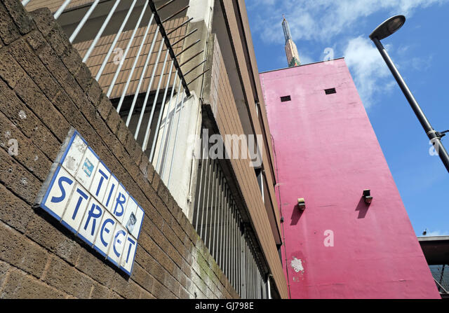 Tib Street, Manchester, Northern Quarter, Lancashire, England, UK. Location of old river Tib - Stock Image