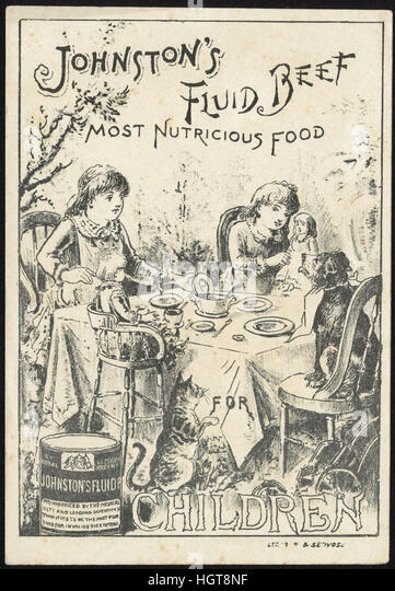 Johnston's Fluid Beef, most nutricious food for children [front]  - Food Trade Card - Stock Image
