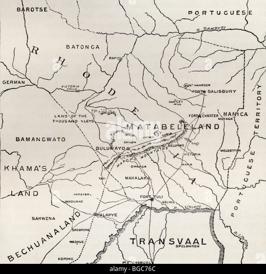 Map of Matabeleland in the late 19th century. - Stock-Bilder