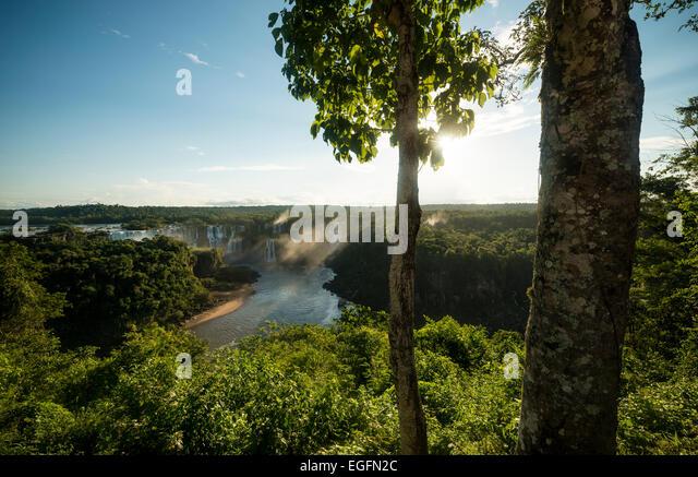 View from 'Trilha das Cataratas', Foz do Iguaçu, Parque Nacional do Iguaçu, Brazil, South america - Stock Image