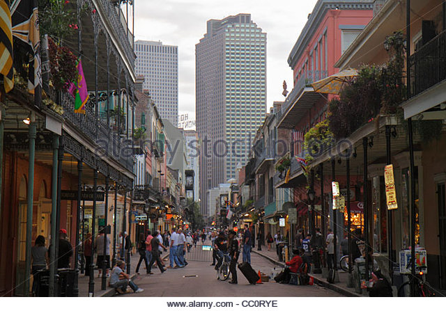 New Orleans Louisiana French Quarter Bourbon Street National Historic Landmark street scene skyline architecture - Stock Image