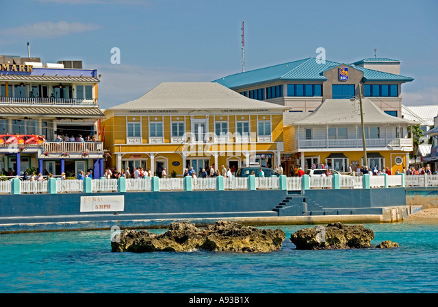 George Town Grand Cayman capital city stores shops at cruise dock - Stock Image