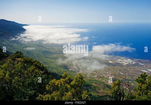 Las Puntas and El Golfo Bay, seen from Tibataje, El Hierro, Canary Islands, Spain, Atlantic, Europe - Stock-Bilder