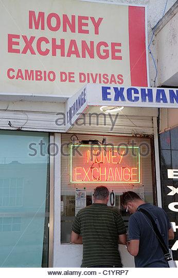 Cancun Mexico Yucatán Peninsula Quintana Roo Mercado 28 money exchange business foreign currency cambio de - Stock Image