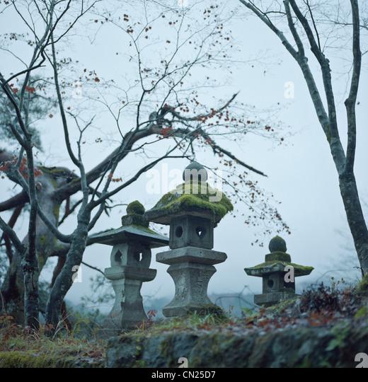 Japanese graveyard - Stock Image