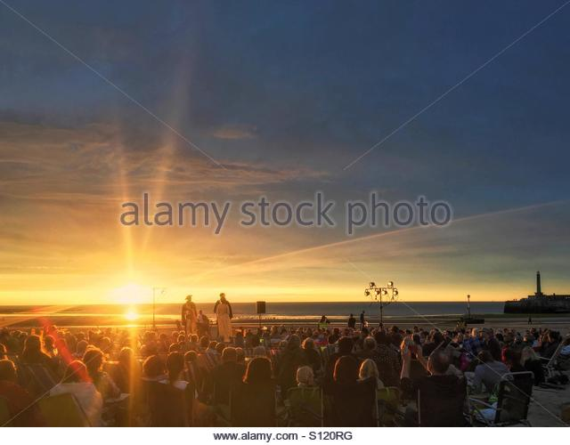 Shakespeare's 'Alls Well that Ends Well' performed on the Beach at Margate, Kent, UK (9 July 2016). - Stock Image