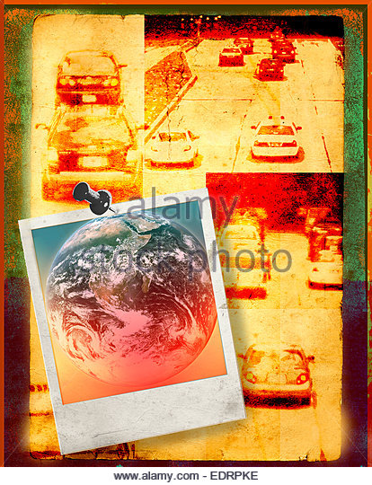 Photographs of cars in traffic and global warming - Stock Image