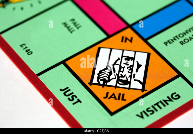 The 'In jail' space on a monopoly game board UK - Stock Image