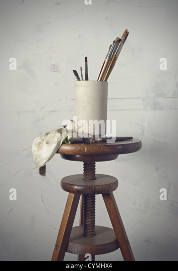 old tools of the painter - Stock Image