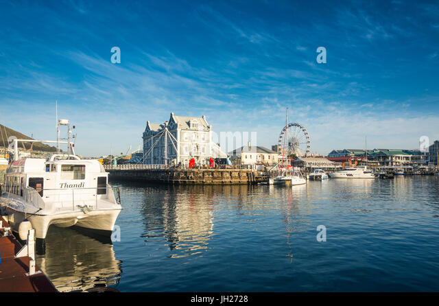 Victoria and Alfred Waterfront at sunrise, Cape Town, South Africa, Africa - Stock Image