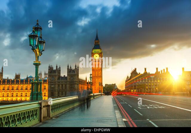 Big Ben at sunset, London - Stock Image