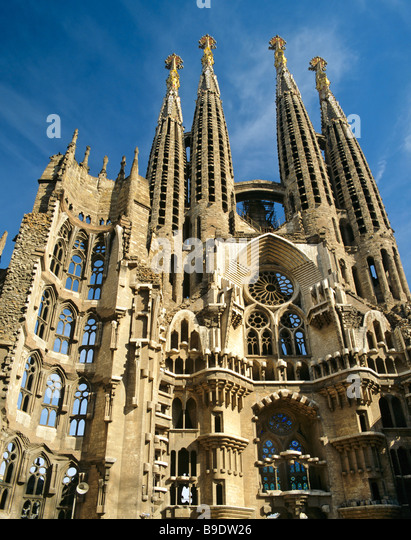 Towers of the Sagrada Familia temple, Gaudi, Barcelona, Catalonia, Spain - Stock Image