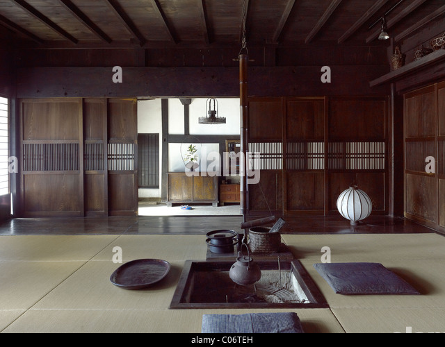 Tatami room japanese stock photos tatami room japanese for Traditional japanese interior