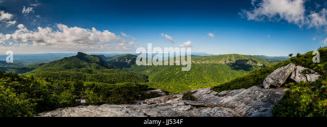 Linville Gorge Panorama on a bright summer morning - Stock Image