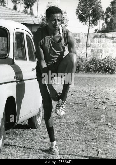 ABEBE BIKILA (1932-1973) Ethiopian Olympic marathon champion in 1968 - Stock Image