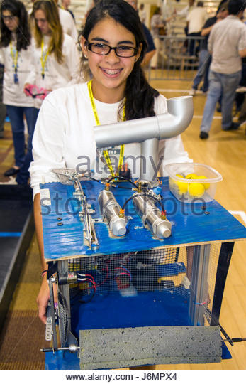 Miami Florida Shops at Midtown Miami Battlebots IQ Tournament battling robots robotics competition student teen - Stock Image