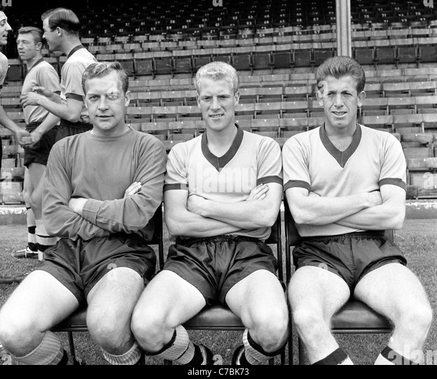Wolverhampton Wanderers Footballers LtoR Malcolm Finlayson, Ron Flowers and Peter Broadbent - Stock Image