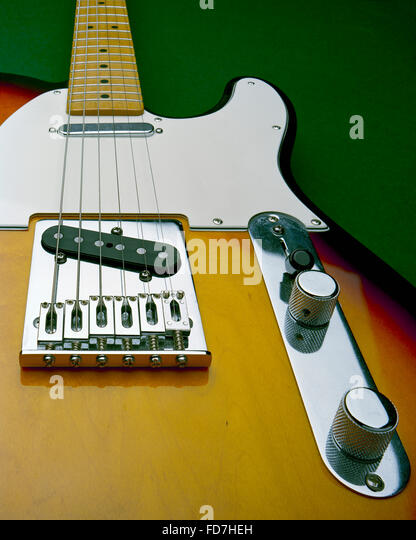Sunburst finish Fender Telecaster solid electric guitar - Stock Image