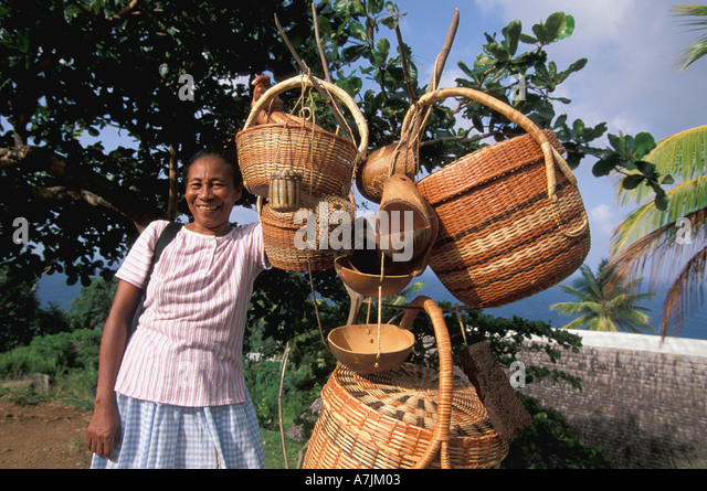 Dominica West Indies Caribbean Carib Territory Reserve Woman Selling Carib Baskets - Stock Image