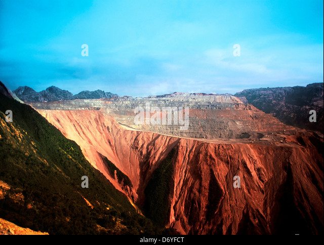 Grasberg Mine on the Jayawijaya Mountains, Irian Jaya, New Guinea, Indonesia - Stock Image