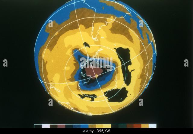 False colour image of Antarctic ozone hole, 30 November 1992. NASA photograph. - Stock Image