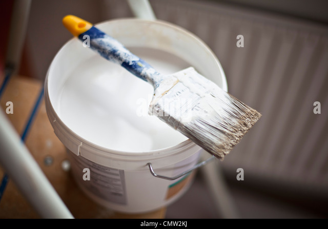 Paint material with ladder - Stock Image