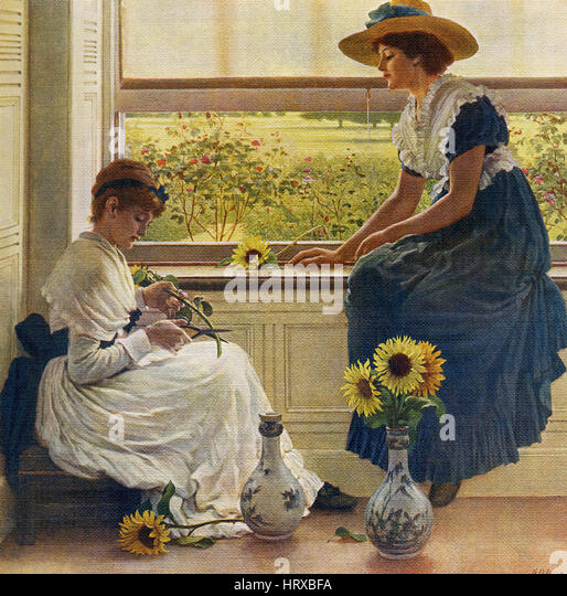 This painting, titled 'Sun and Moon Flowers,' is by the English artist George Dunlop Leslie (1835-1921). - Stock-Bilder