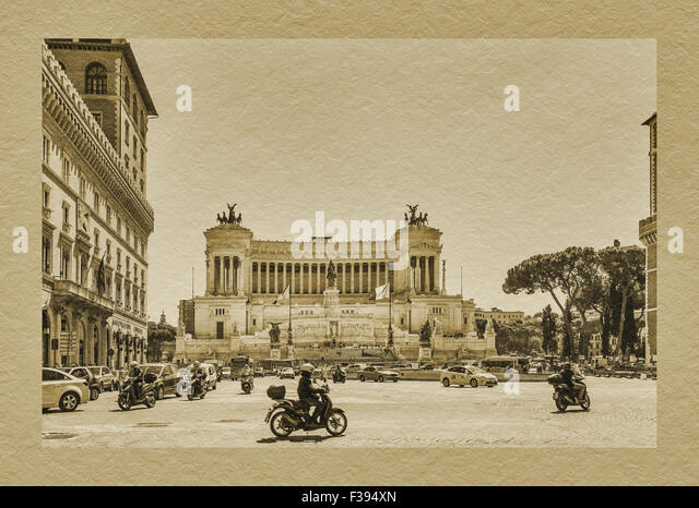 The Monumento Nazionale a Vittorio Emanuele II is a national monument in Rome, Lazio, Italy, Europe - Stock Image