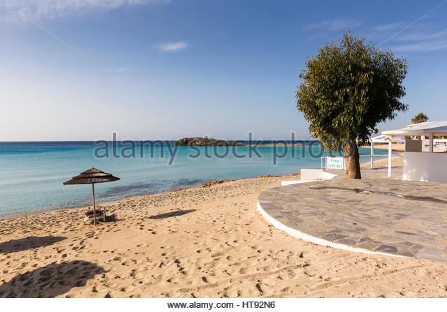 Beach umbrella on Nissi Beach at the Nissi Beach Resort in Agia Napa, Cyprus - Stock Image