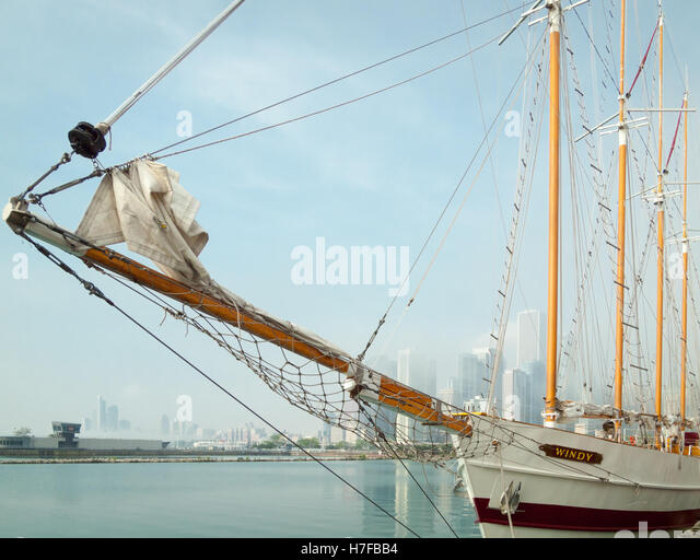 The Tall Ship Windy, a 148-foot schooner is modeled after a traditional Great Lakes trading ship, moored at Navy - Stock Image