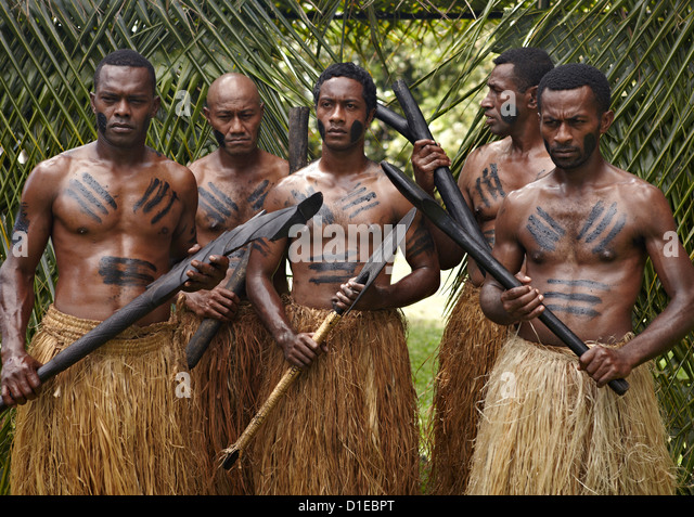 Authentic Fiji natives, First Landing Resort, Nalamu Beach, Vuda Point, Fiji, Pacific Islands, Pacific - Stock Image
