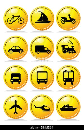 A vector illustration of a set of transportation icons - Stock Image