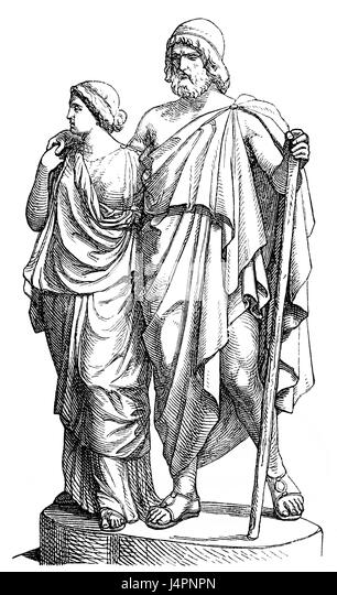 The blind Oedipus at Colonus or Oedipus Coloneus, togeher with Antigone, Ancient Greek tragedy by Sophocles - Stock Image