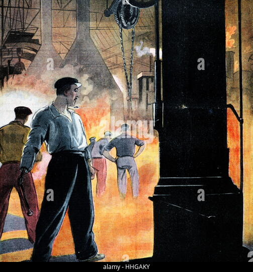 Magazine illustration showing a steel mill and furnace in France 1934. - Stock Image