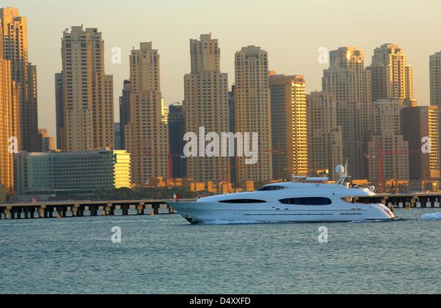 Luxury yacht at Dubai marina, United Arab Emirates - Stock Image