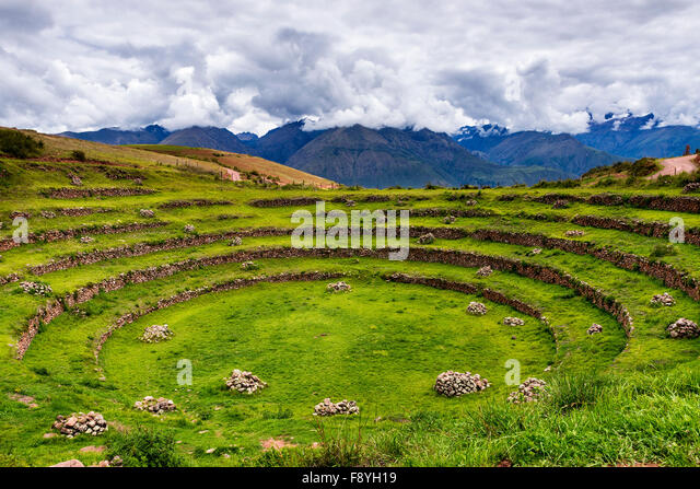 Inca circular terraces in Moray, in the Sacred Valley, Peru. Moray is an archaeological site, close to the village - Stock-Bilder