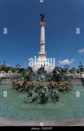 Bordeaux, France and the Monument des Girondins in the Place des Quinconces - Stock Image