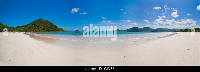 Panoramic Photo of idyllic Selong Belanak Beach, South Lombok, Indonesia, Southeast Asia, Asia - Stock Image