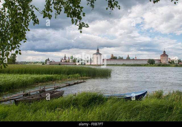 View Cyril Belozersky Monastery sunny summer day - Stock-Bilder