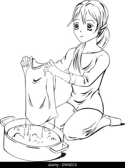 Anime laundress. Black and white vector illustration. - Stock-Bilder