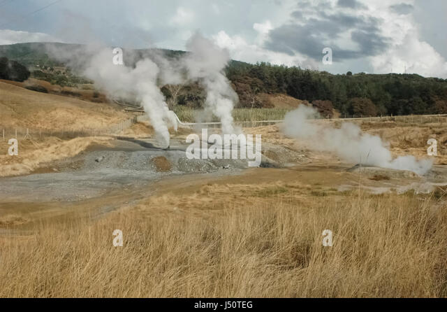 View of the smoke of geothermal energy - Stock Image