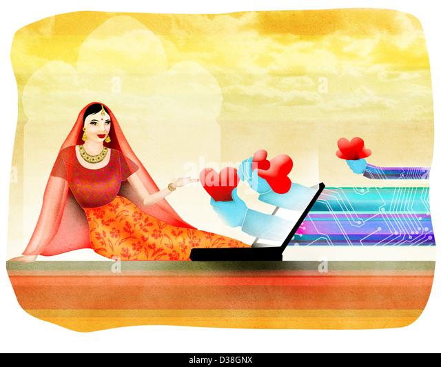 Woman receiving marriage proposals through internet - Stock-Bilder
