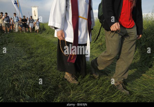 Traditionalist Catholic pilgrimage, Eure-et-Loir, France, Europe - Stock-Bilder